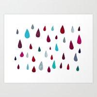 Raindrops-red Art Print