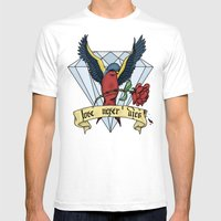 Love Never Dies Swallow Mens Fitted Tee White SMALL