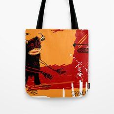 defeating the black monster Tote Bag