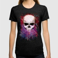 Colorful Skull Womens Fitted Tee Tri-Black SMALL