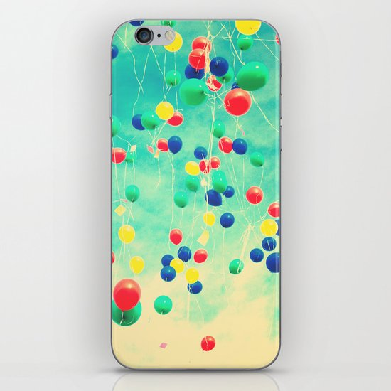 Let your wishes fly (Colour balloons in vintage - retro turquoise sky) iPhone & iPod Skin
