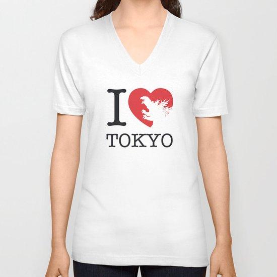 No029-1 My Godzilla 1954 minimal movie poster V-neck T-shirt