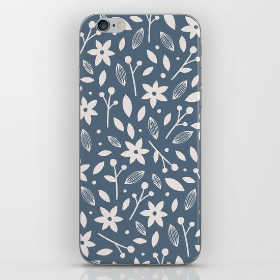 Winter Bloom - in Navy iPhone & iPod Skin