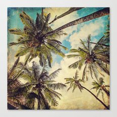 Vintage Blue Hawaii Palm Trees Canvas Print