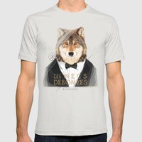 Loup Gris Mens Fitted Tee Silver SMALL