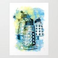 Dalek Inspired Mixed Med… Art Print
