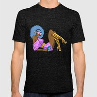 Funky Retro Girl Mens Fitted Tee Tri-Black SMALL