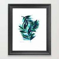 Palm Leaves - Teal Ombre Framed Art Print