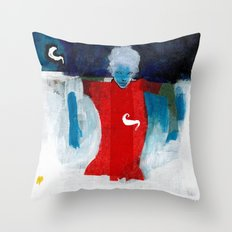 woman in the wind Throw Pillow