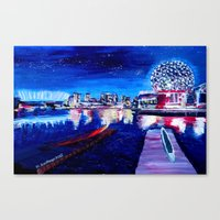 Vancouver skyline at starry night Canvas Print