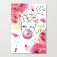 Bubble Birdie Canvas Print