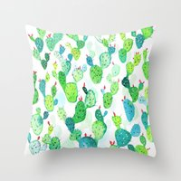 Watercolour Cacti Throw Pillow