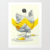 Chicken In The Kitchen Art Print