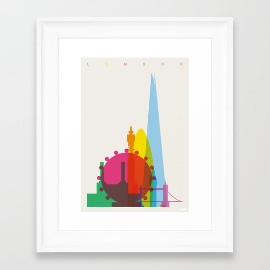 Shapes of London. Accurate to scale Framed Art Print