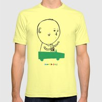A man in a car Mens Fitted Tee Lemon SMALL