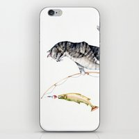 Cat with a Fish iPhone & iPod Skin