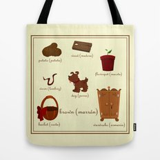 Colors: brown (Los colores: marrón) Tote Bag