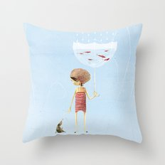 FISH IN UMBRELLA - triptych image 2 Throw Pillow