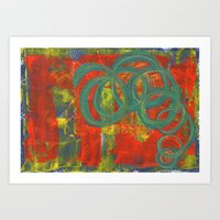 Green Spirals Art Print