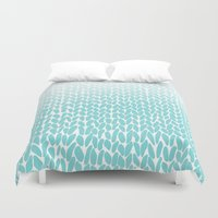 Hand Knitted Ombre Teal Duvet Cover