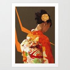 Polygonal kimono girl Art Print