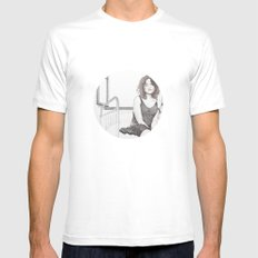 closed eyes - woman dotwork portrait SMALL Mens Fitted Tee White