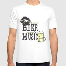 I Listen to Beer and Drink Music SMALL White Mens Fitted Tee