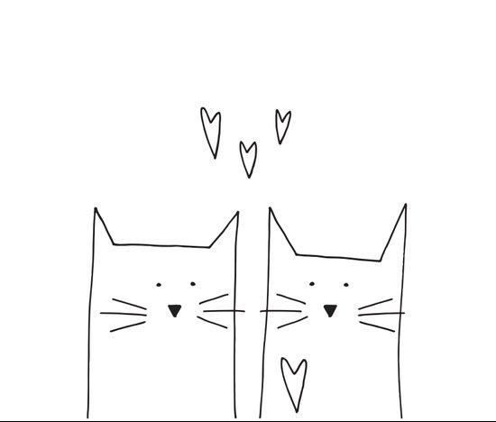 cat and cat Art Print
