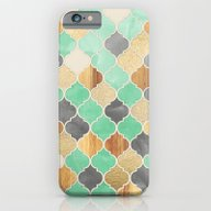 iPhone & iPod Case featuring Charcoal, Mint, Wood & G… by Micklyn