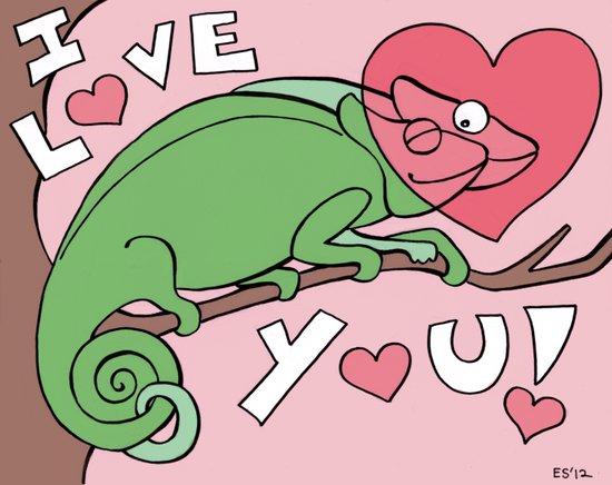 Chameleon Couple Art Print