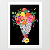 Flowers In Paper Art Print