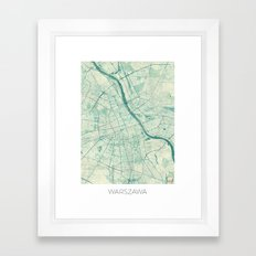 Warsaw Map Blue Vintage Framed Art Print