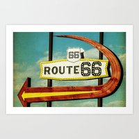 Route 66 Motel Graphic Sign Art Print