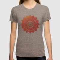 Okshirahm Woodcut Womens Fitted Tee Tri-Coffee SMALL