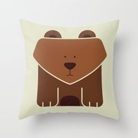 Square Bear Throw Pillow