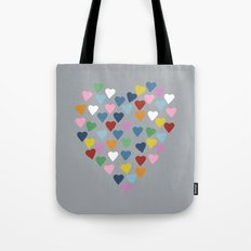 Hearts Heart Multi Grey Tote Bag
