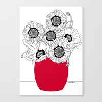 Black And White Poppies … Canvas Print