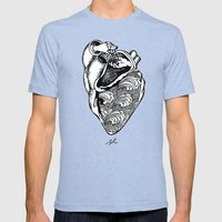 Heart Hands Mens Fitted Tee Tri-Blue SMALL