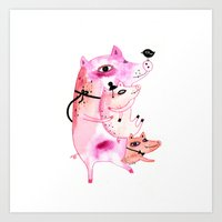 Three and Free Little Pigs Art Print