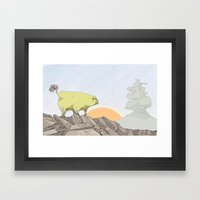 a pug turns into a rock robot Framed Art Print
