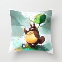 Totoro Rainbow rain Throw Pillow