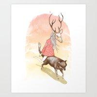 Wolf And Dear Art Print