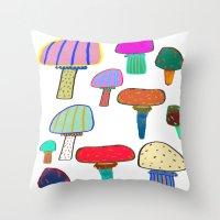 Mushrooms, mushroom print, mushroom art, illustration, design, pattern,  Throw Pillow