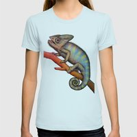 Chameleon (2) Womens Fitted Tee Light Blue SMALL