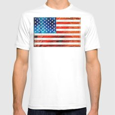 American Flag Art - Old Glory - By Sharon Cummings SMALL White Mens Fitted Tee