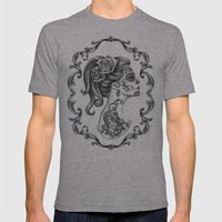 Sugar Skull Girl Cameo Mens Fitted Tee Athletic Grey SMALL