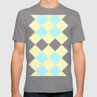 Checkers Yellow/Blue Mens Fitted Tee Tri-Grey SMALL