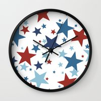 Stars - Red, White and Blue Wall Clock