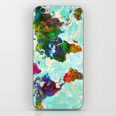 Abstract Watercolor World Map iPhone & iPod Skin