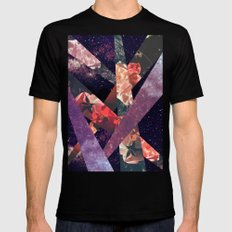 ROSES IN THE GALAXY Black Mens Fitted Tee SMALL